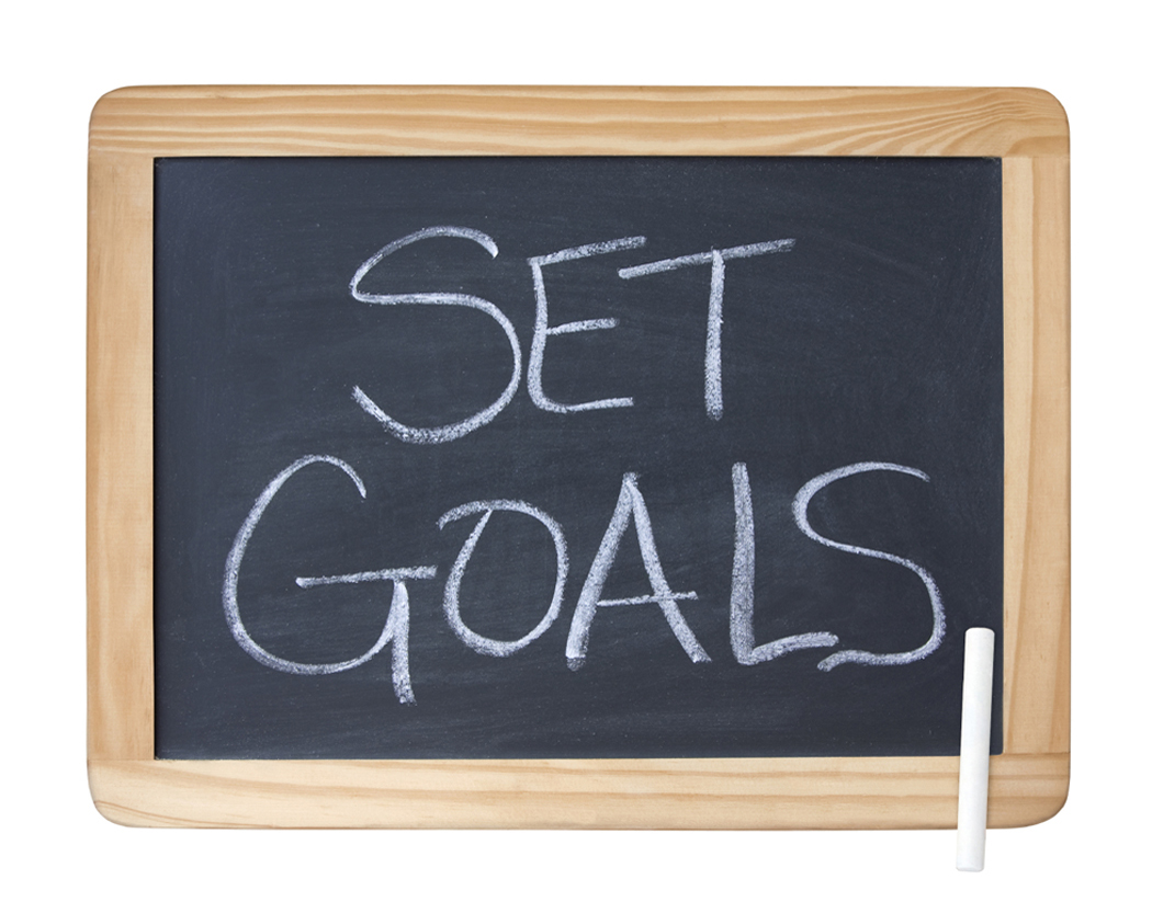 Chalkboard with Set Goals written in chalk