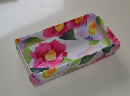 Box covered in pretty wrapping paper